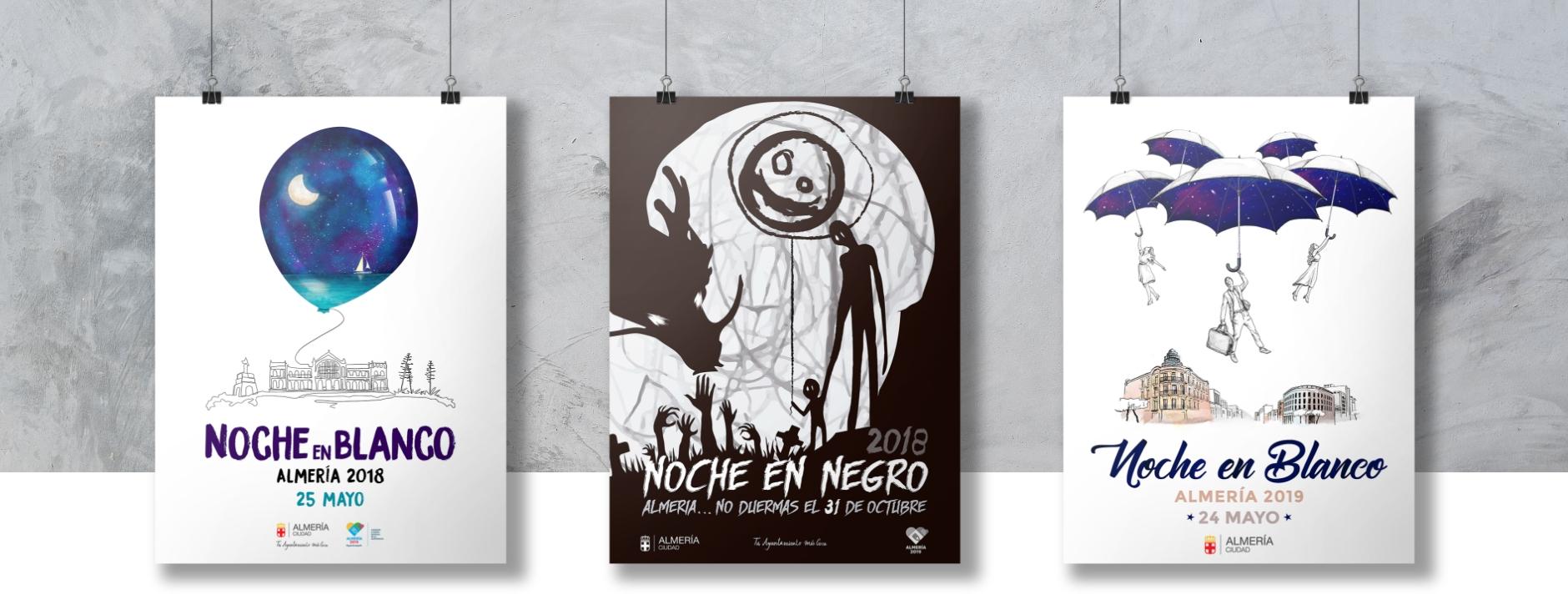 Carteles Noche Blanco - Negro